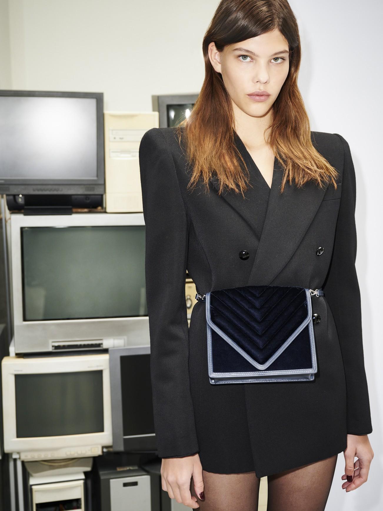 Alexa in Navy Quilted Velvet