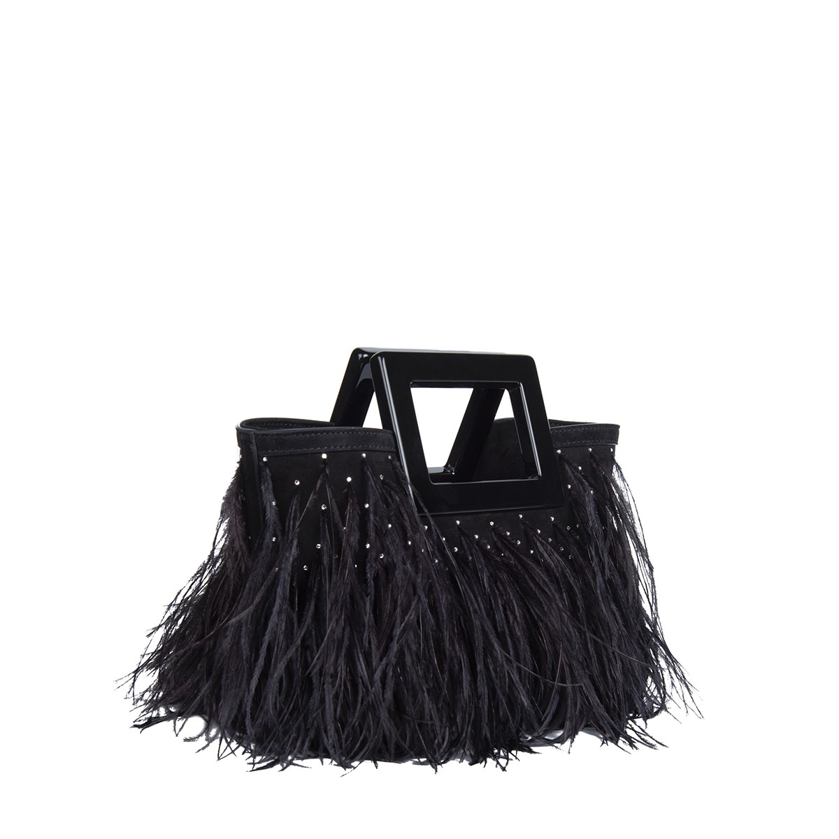 Micro Riviera in Feathered Black Suede2