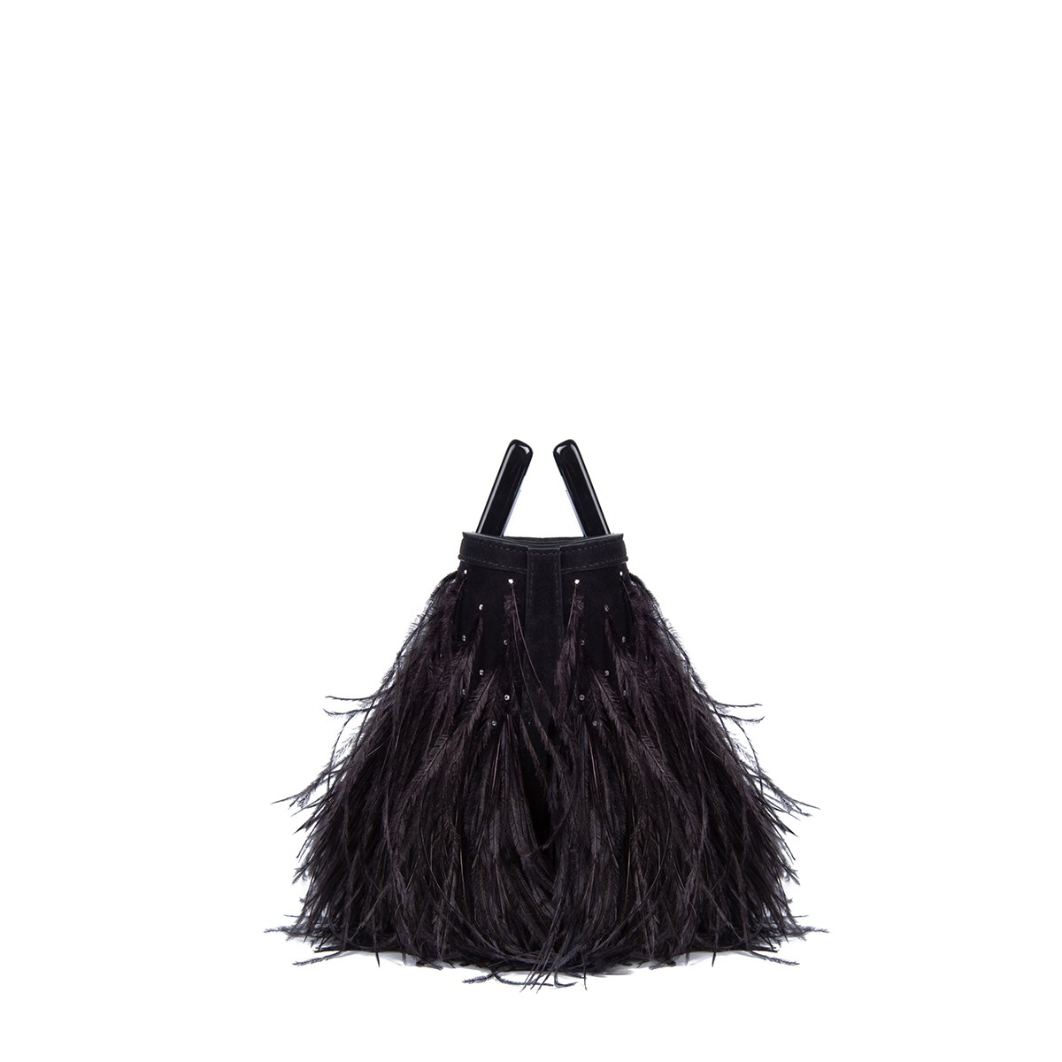 Micro Riviera in Feathered Black Suede3