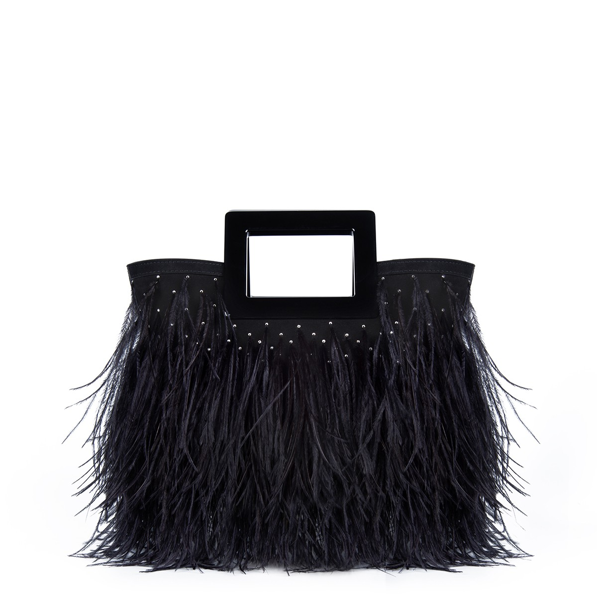 Micro Riviera in Feathered Black Suede4