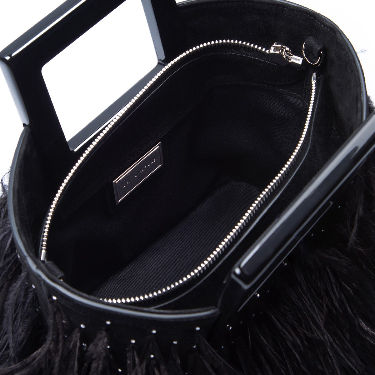 Micro Riviera in Feathered Black Suede5