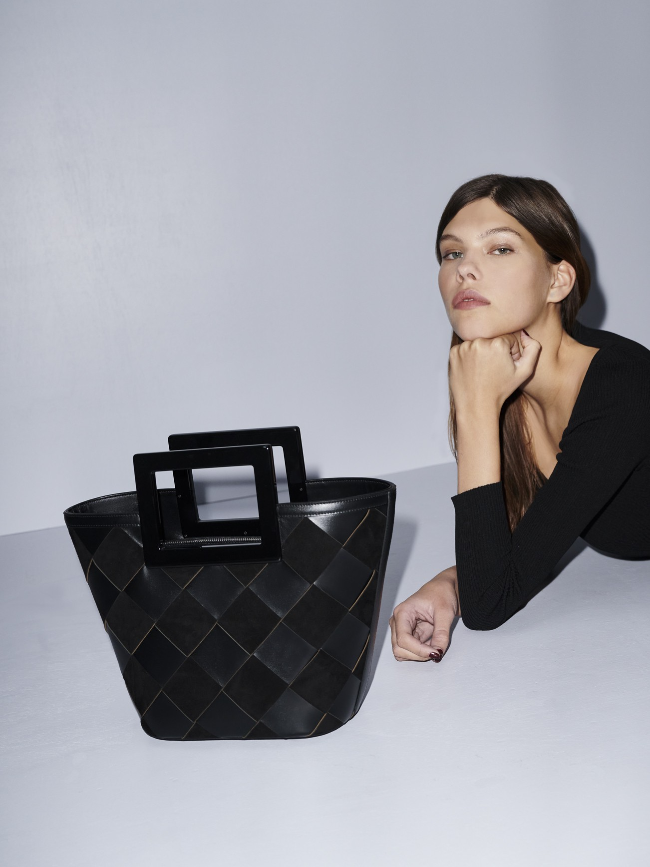 Mini Riviera in Black Woven Leather