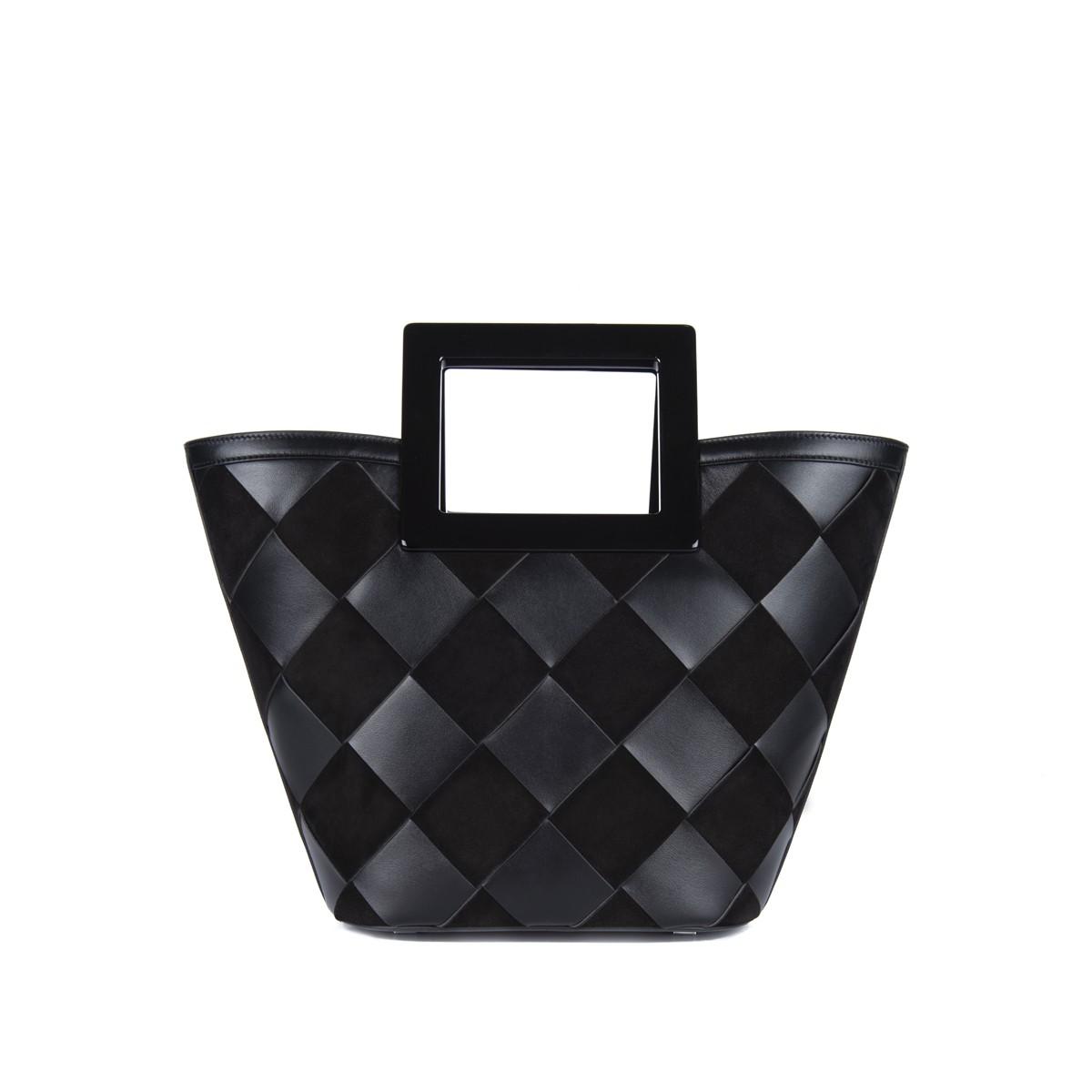 Mini Riviera in Black Woven Leather1