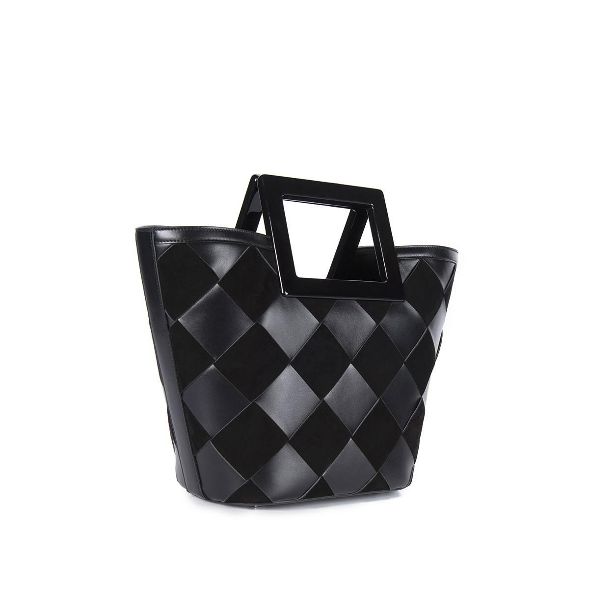 Mini Riviera in Black Woven Leather2
