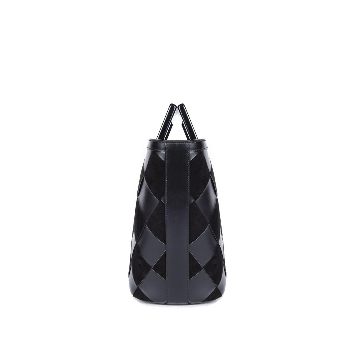 Mini Riviera in Black Woven Leather3